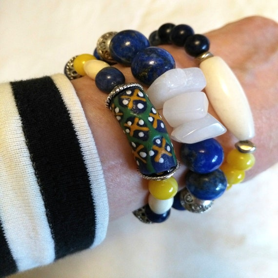 Colorful Beaded Bracelet Stack in Blue, White, Yellow, Red with Jade, Sodalite, Resin, Wood, Agate, Lapis Lazuli, African Recycled Glass