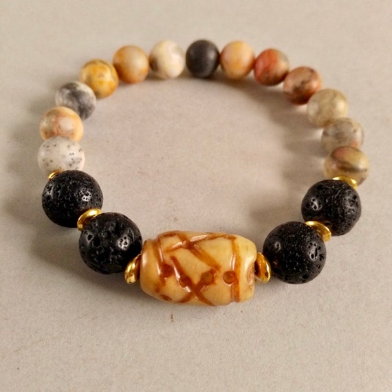 Bracelet Sale, Beaded Stretch Bracelet in Black Lava Stone, Carved Amber Jade and Multi-colored Crazy Agate Beads with Stacking Options