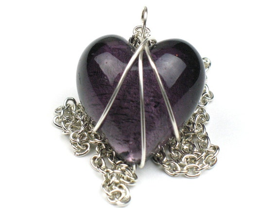 Purple Heart Necklace with Silver Chain and Wire Wrapped Pendant