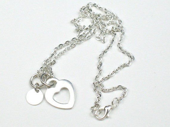 Heart Necklace in Silver with Heart and Disc Charms, Romantic Gift for Her, Mother's Day Gift For Mom, Girlfriend Gift,  Sentimental Love