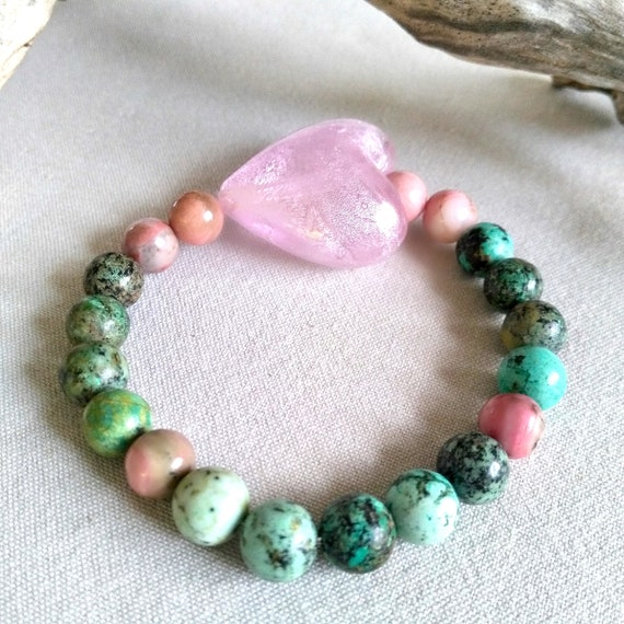 Beaded Gemstone Bracelet in Green African Turquoise and Pinkish Rhodonite with Large Pink Glass Heart Bead with Silver Foil Lining, Mom Gift