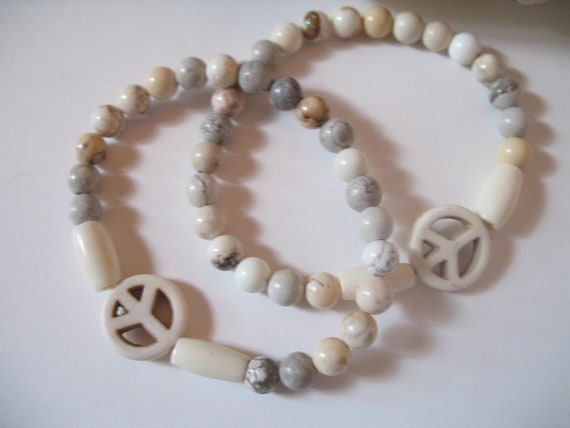Bohemian Stackable Bracelet in Howlite Stone and Bone Beads with Peace Sign