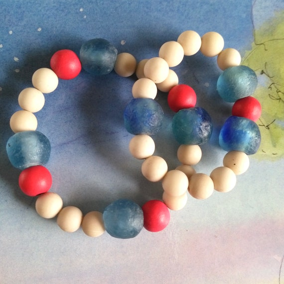 Mother Daughter Beaded Bracelets in Blue, Beige and Red with African Recycled Glass, Fossil, and Vegetable Dyed Wood Beads