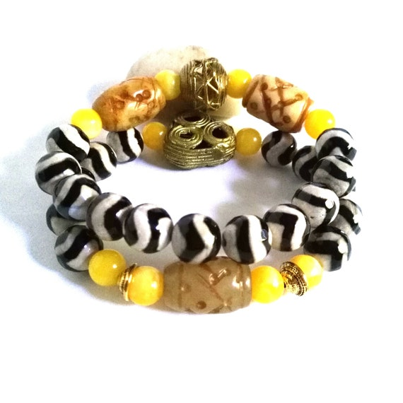 Gemstone Beaded Stretch Bracelet Set in White, Black and Yellows with Faceted Tibetan Agate, African Brass, Carved Jade and Resin Beads