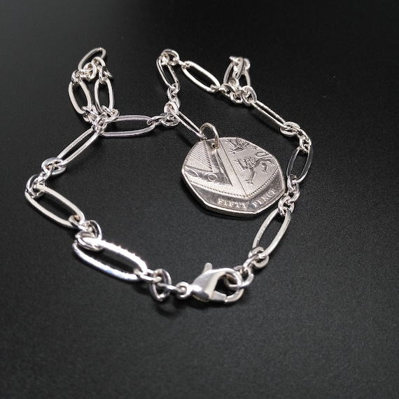 Coin Necklace in Silver Stretched Oval Link Chain with Silver 2015 British Fifty Pence Seven Sided Coin Charm
