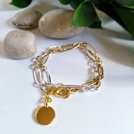 Mixed Metal Bracelet in Silver and Gold Stretched Oval Chain with Gold TierraCast or Silver Disc Charm
