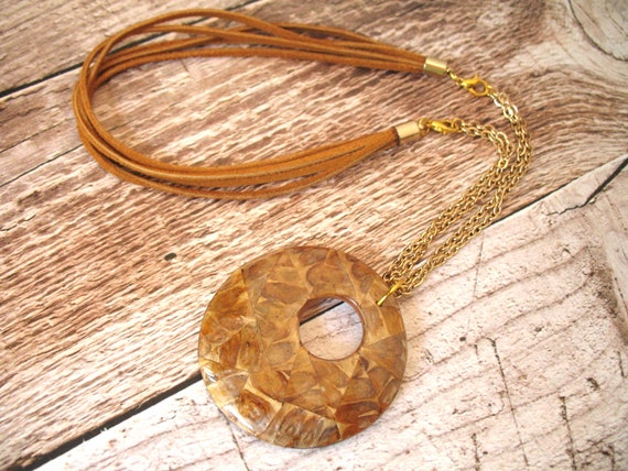 Statement Necklace with Lacquered Wood Donut Pendant, Gold Plated Chain and Suede Cord