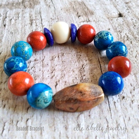 Chunky Beaded Bracelet in Blue, White and Red with Earthy Serpentine Focal Bead, Natural Emperor Jasper Stone, and Sponge Coral