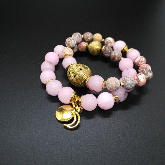 Gemstone Bracelet Set in Pink, and Gold with Cherry Blossom Jasper, Leopard Skin Jasper and African Brass
