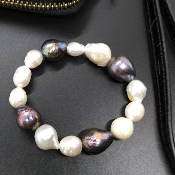 Pearl Gemstone Beaded Stretch Bracelet in Dark Colored Baroque Pearls of Purples, Mauves, Greens and Grays and White Baroque Pearls