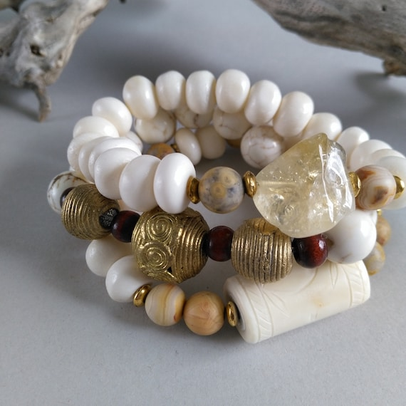Bead Stretch Bracelet Stack in Citrine, Textured Bone, Smooth Bone Beads, African Brass Beads / Crazy Agate Beads, Prices Listed Separately