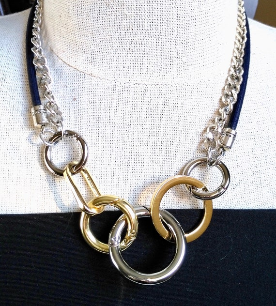 Mixed Metal Convertible Statement Necklace with Chunky Silver Curb Chain and Navy Mokuba Cord
