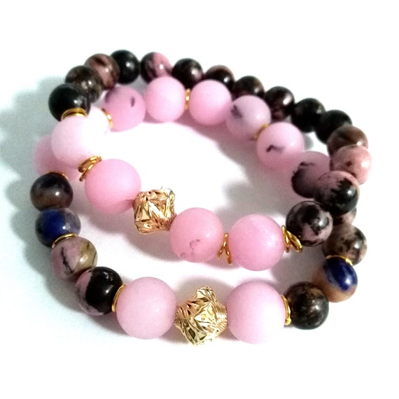 Gemstone Bracelet Set in Pink, Brown and Gold with Rhodonite, Cherry Blossom Jasper and Gold Filled Twisted Accent