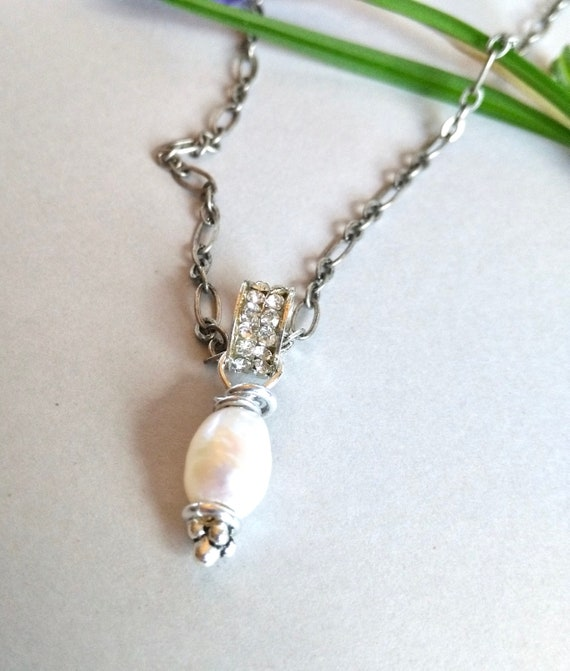 Pearl Necklace in Silver and White with Wire Wrapped Baroque Pearl and Rhinestone Pave Pendant and Antiqued Silver Chain, Mother's Day Gift