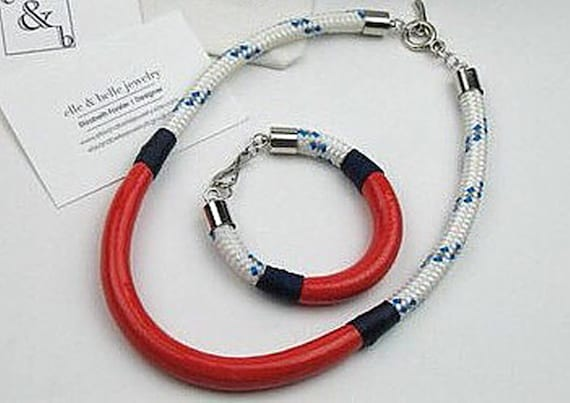 Set of Nautical Rope Necklace and Bracelet in White and Blue Boating Cord w/ Coral Enamel, Gift for Her, Handcrafted Jewelry, Unique Jewelry