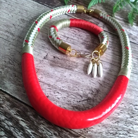 Summer Rope Necklace in Beige, White and Red Braided Boating Cord Coated with Coral Enamel