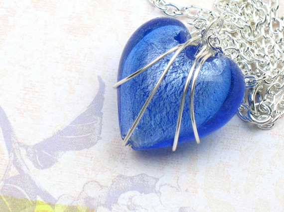 Wire Wrapped Blue Heart Necklace with Silver Chain