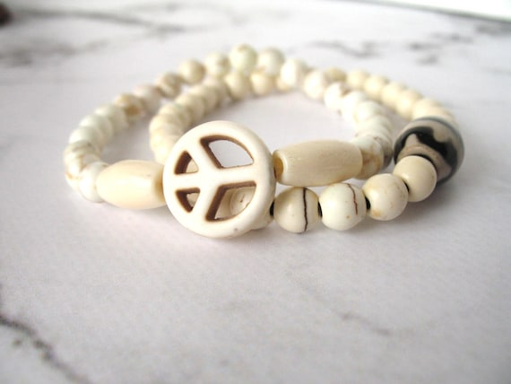 Hippie and Bohemian Stackable Peace Bracelet in Natural Howlite Stone