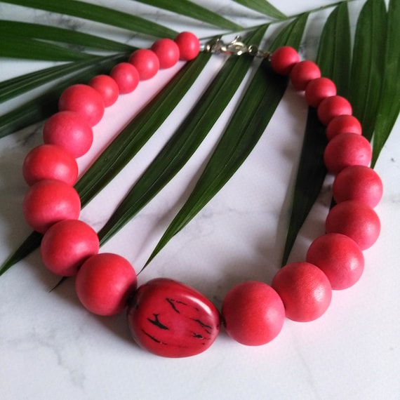Bead Necklace in Red with Handmade Wood Beads and Natural Vegetable Ivory Tagua Nut
