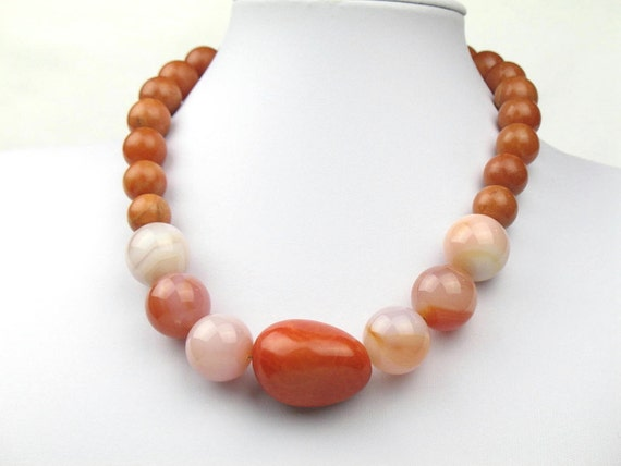Beaded Necklace in Earth Tones with Rose Quartz, Agate and Orange Tagua Nut Bead, Unique Jewelry, Artisan Necklace, One of a Kind Necklace