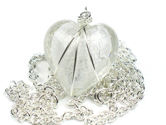 White Glass Heart Necklace with Wire Wrapped Pendant and Silver Chain