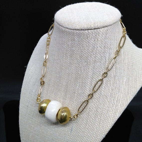 Chunky Bar Necklace in Gold Plated Stretched Oval Link Chain with Chunky Bone and Brass Beads