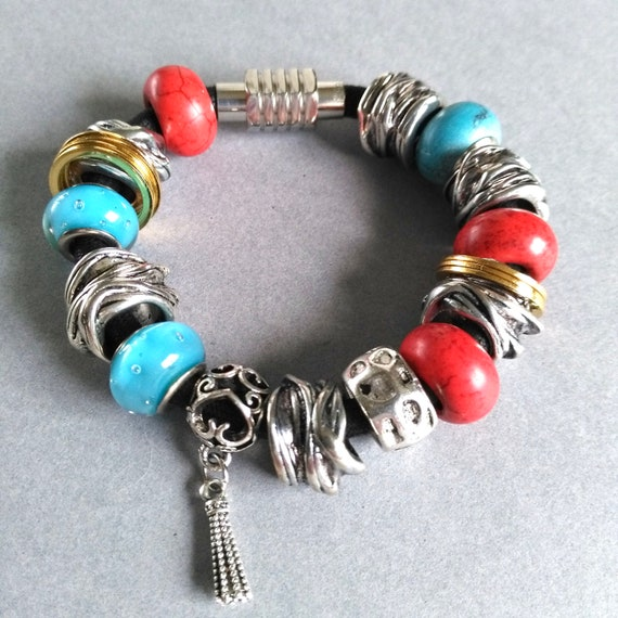 Bead Bracelet with Antiqued Silver, Gold Rings, Red Howlite and Blue Recycled Glass on Black Cord with Magnetic Clasp