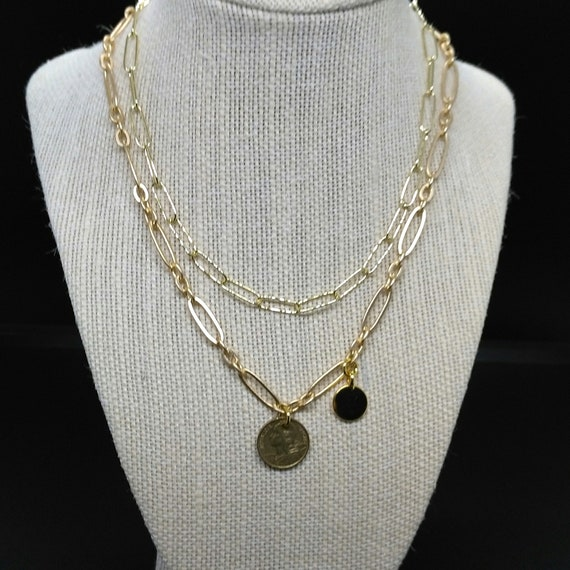Chain Necklace Set in Gold Oval Link Chain with French Franc Medallion and Stamping Disc Layered with Plain Paperclip Chain Necklace