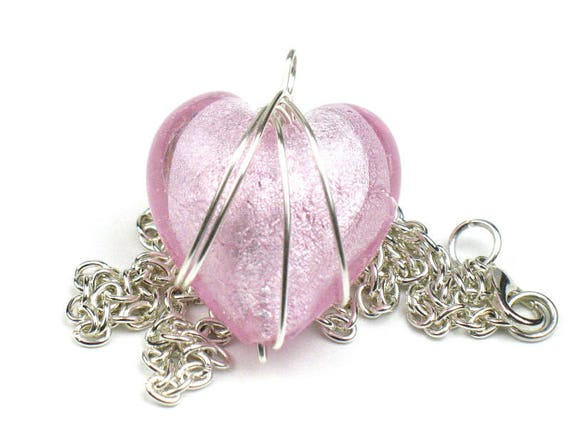 Pink Heart Necklace with Silver Chain and Wire Wrapped Pendant