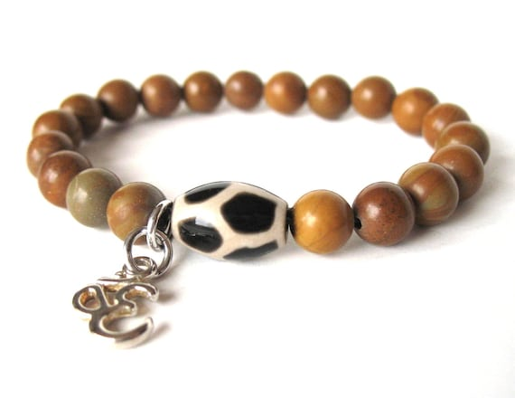 Beaded Mala Bracelet in Tigerskin Jasper with Dzi Bead and OM Charm, Meditation Bracelet, Yogi Bracelet, Unisex Bracelet, Artisan Jewelry