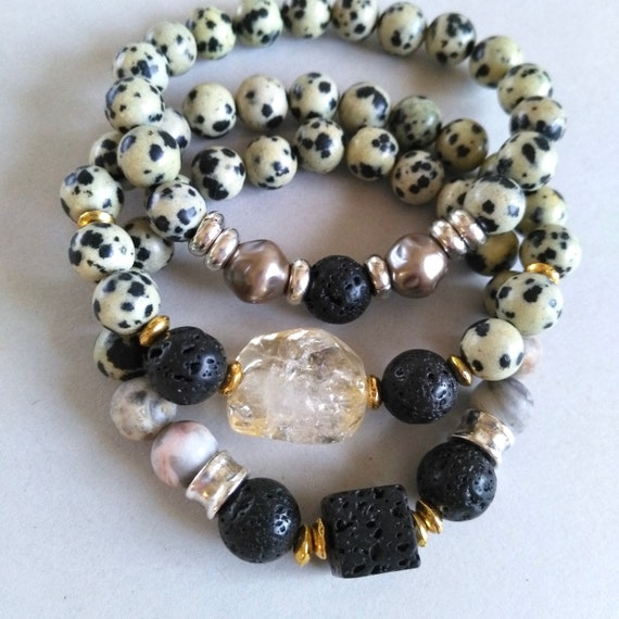 Beaded Gemstone Bracelet Stack in Dalmation Jasper with Lava Stone, Citrine, and Recycled Acrylic Beads, Bracelets Sold Individually as Well