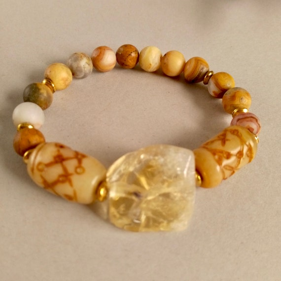 Chunky Gemstone Beaded Stretch Bracelet in Citrine, Textured Amber Jade and Crazy Agate