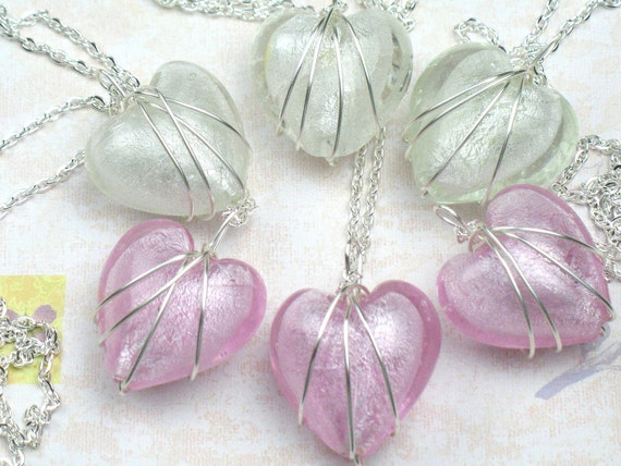 Bridesmaids Gift, Set of Six Heart Necklaces w Wire Wrapped Pendant, Bridesmaid Necklaces,Wedding Jewelry, Bridal Jewelry, Friendship Gift