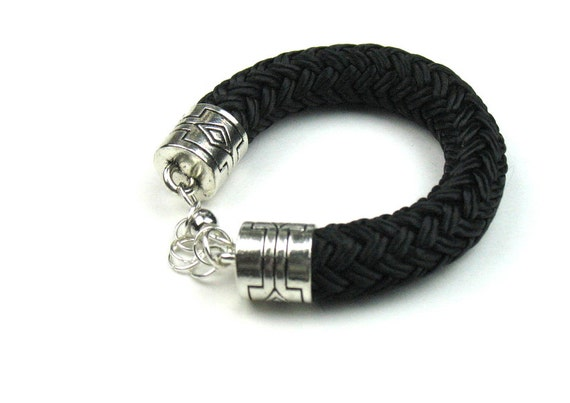 Statement Rope Bracelet in Black with Chunky Boating Cord, Decorative Cord Ends and Silver Magnetic Clasp