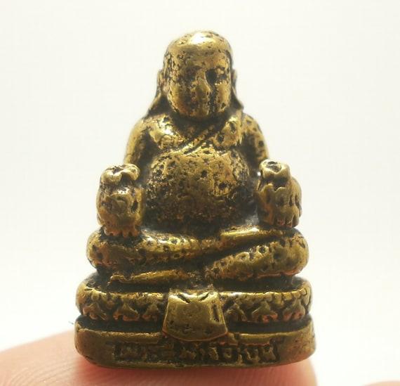 Riant Chinois Bouddha Budai Miniature Statue de Amulette en Argent