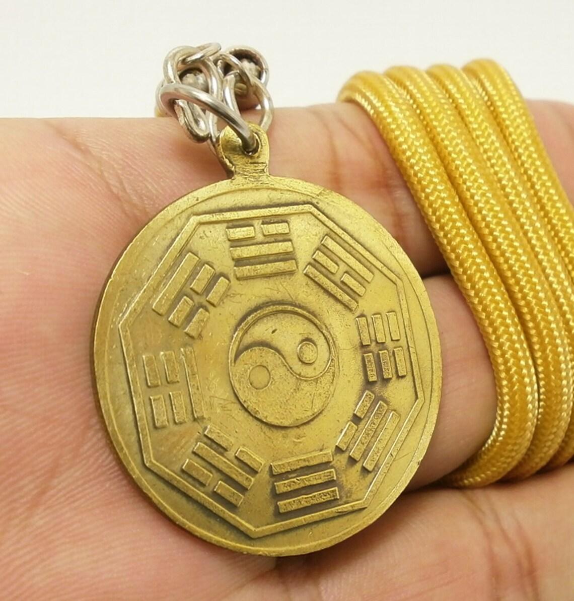 guan yin quan im yin and yang sign chinese brass pendant