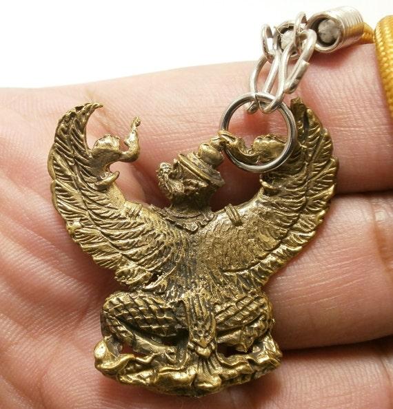 PHAYA KRUT NAK Garuda Thai Amulet Brass Magic Luck Protect Wealth LP Koon