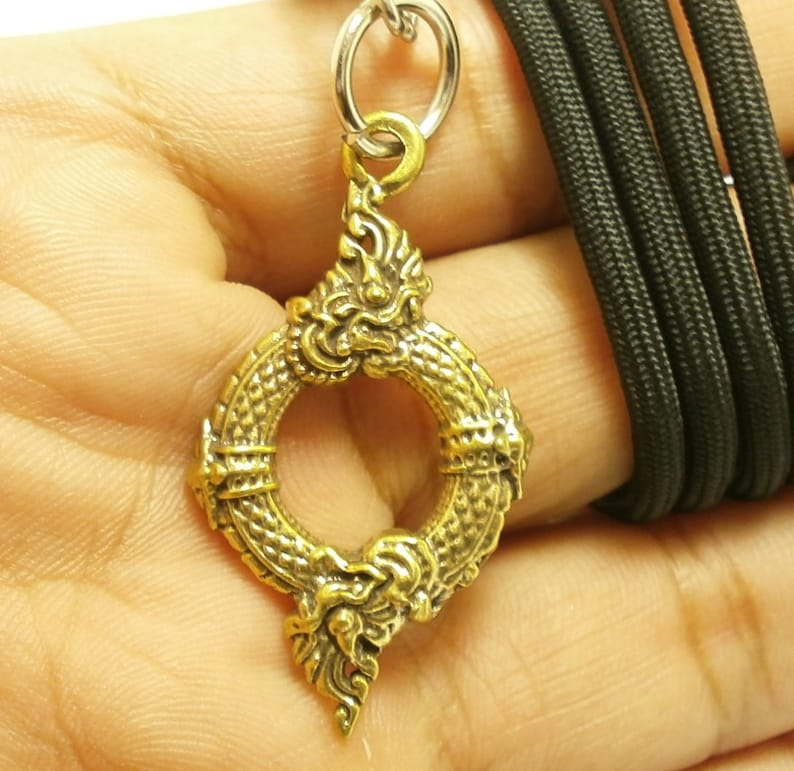 Duo naga nak snake pendant necklace Thai amulet Thailand talisman life  protection blessing for love attraction and good luck nice lucky gift