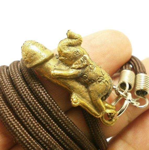 Elephant ride Paladkik Penis Thai Amulet Love Brass Pendant Yantra Talisman