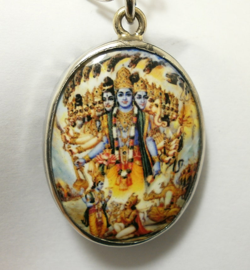 Vishvarupa universal form of Lord Vishnu Hindu amulet Om pendant necklace blessed for success in wishes protection power cross over obstacle