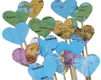 50 Steckherzen zur Hochzeit Dekoration SH001 - Weltkarte, Atlas