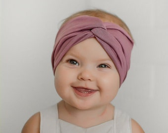 Kids Headband, Kids Turban headband, mauve, fall, baby headband, baby turban,kids accessory, fall headband,Kids Turban in Mauve Love