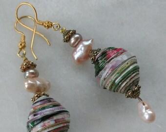 Dangle earrings Drop earrings Paper jewelry Beaded earrings Gift for women Girlfriend gift Birthday gift for mom Gift for wife Gift for her
