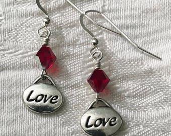 Love Charm Earrings with Ruby Swarovski Crystal