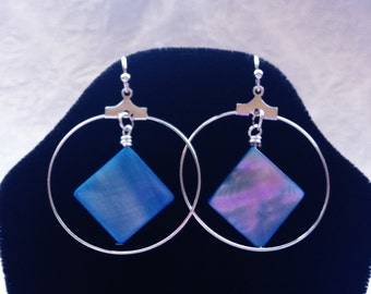 NA Symbol Inspired Silver Large Hoop Earrings with Caribbean Blue Mother of Pearl Beads