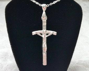 Silver Crucifix Pendant on Silver Chain