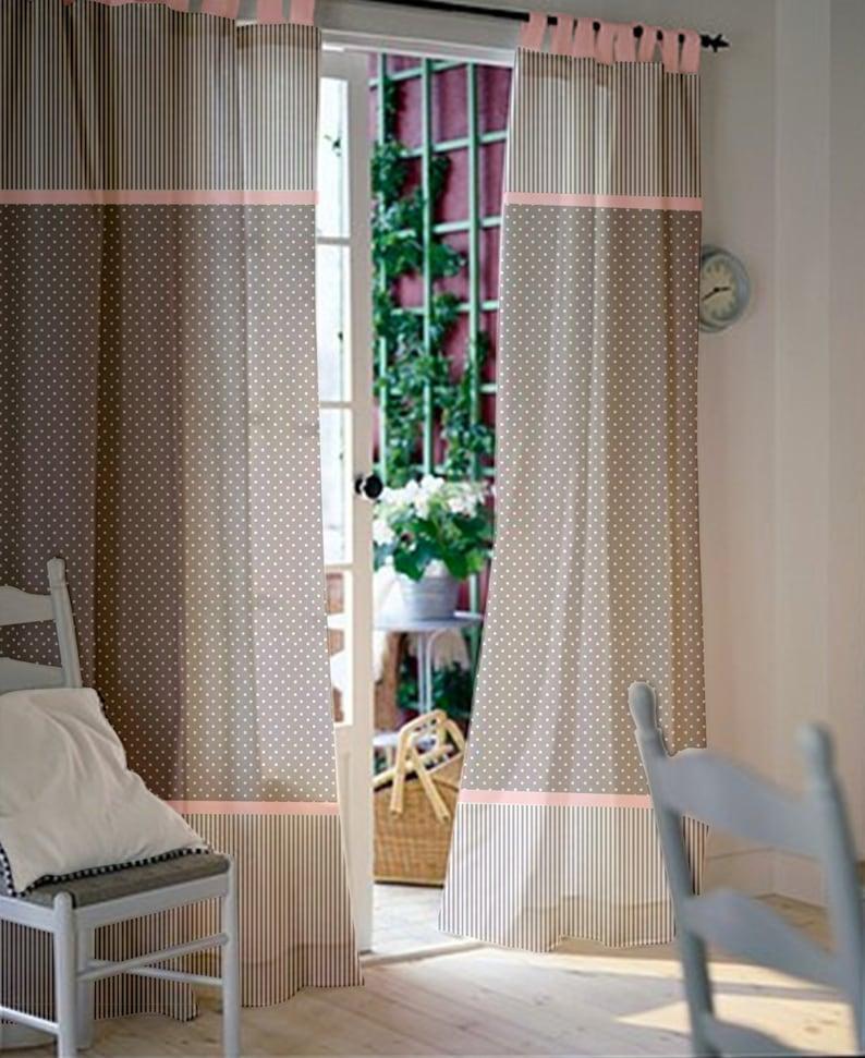 Gris rose rideaux de fenêtre - fille chambre d'enfant rideaux - rideaux  enfants - panneaux de rideaux - rideaux à pois - rideaux - sélectionnez ...