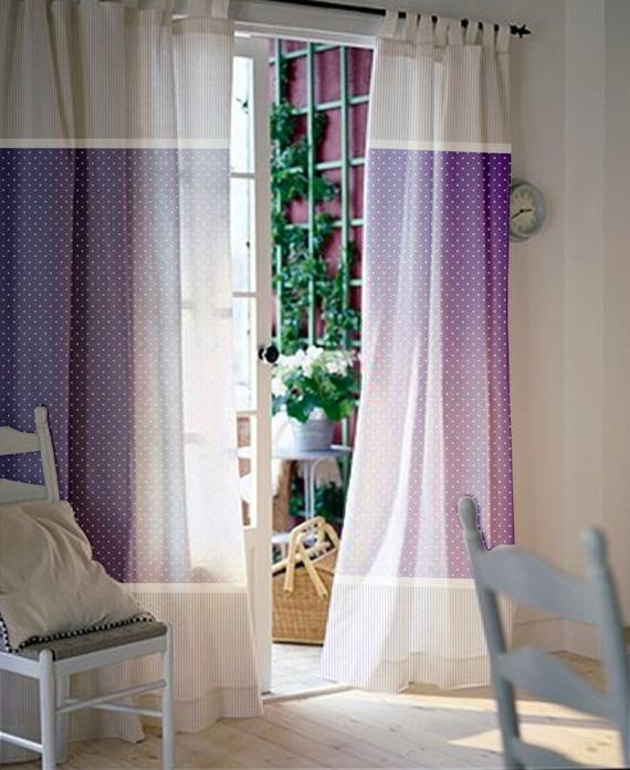 Fenster-Vorhänge / Kinderzimmer Vorhänge / Gardinen Kinder / lila und weiß  polka Dot und Streifen Vorhänge / Größe wählen / Registerkarte Spitze oder  ...