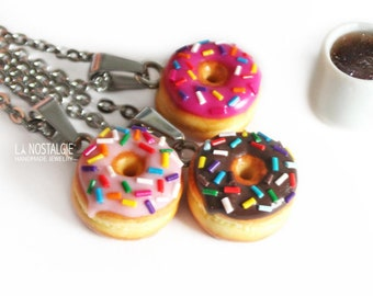 c003503ab Mini Food Donut Charm Necklace Pink Homer Simpson Sprinkles Birthday Gift  Sister