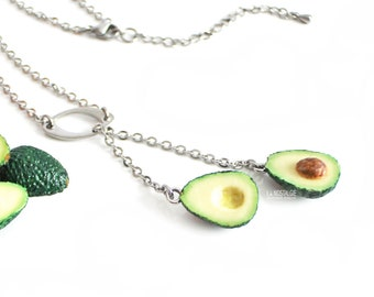 c4ab82ddaa6ee2 Avocado Fruit Beach Tropical Necklace Silver Lariat Y Charm Simple Everyday  Spring Summer